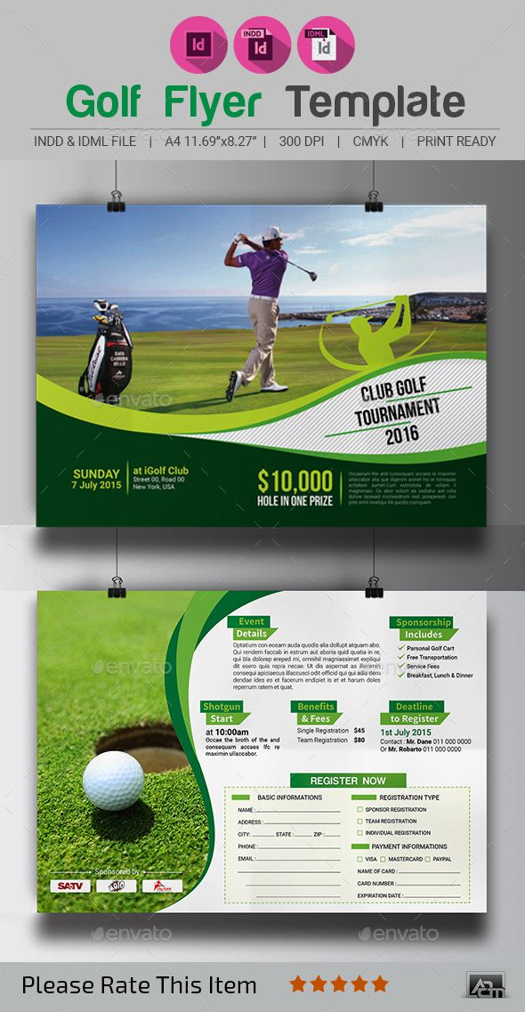Golf Tournament Flyer Template  Flyer Template Adobe Indesign And Golf