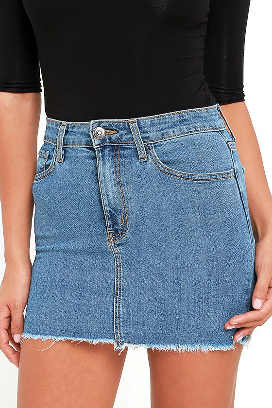 db167941ae We re dreaming little denim dreams and the Pop and Lock Medium Wash Denim  Mini Skirt is front and center! Stretch denim falls from a belt  loop-accented ...