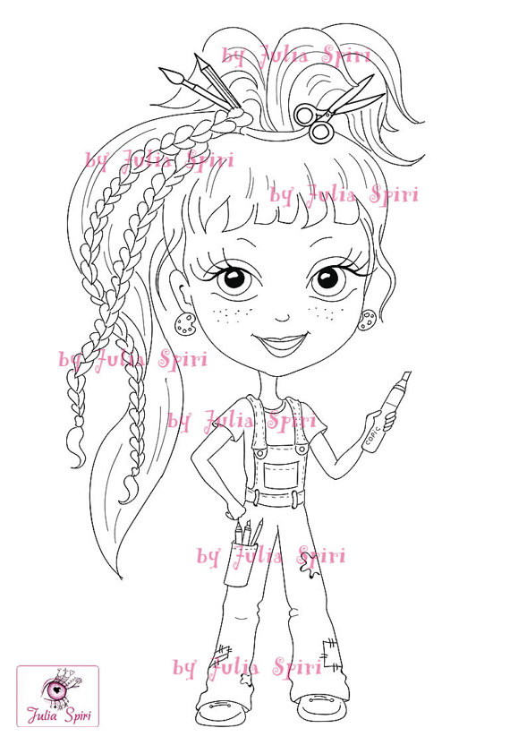 Digital stamps Girl stamps Digi Craft Big Eyes Cute Coloring