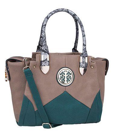 Look at this #zulilyfind! Khaki & Green Elissa Tote by MKF Collection #zulilyfinds