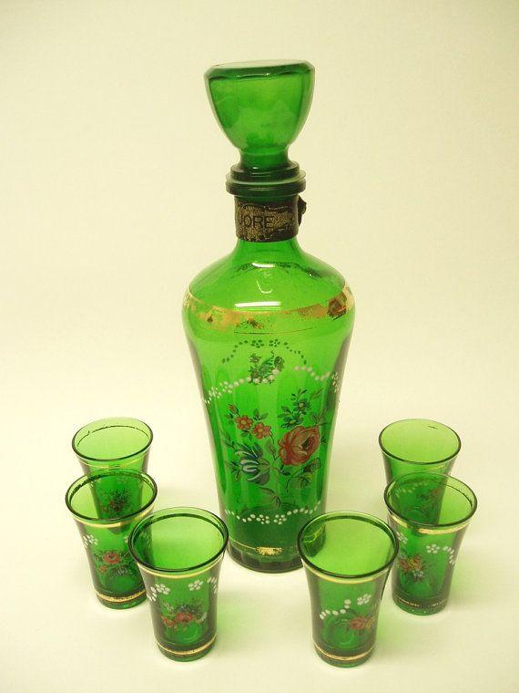 Vintage Glass Green Decanter Set With 6 Shot Glasses Crystal Glassware Vintage Decanter Set Green Glassware