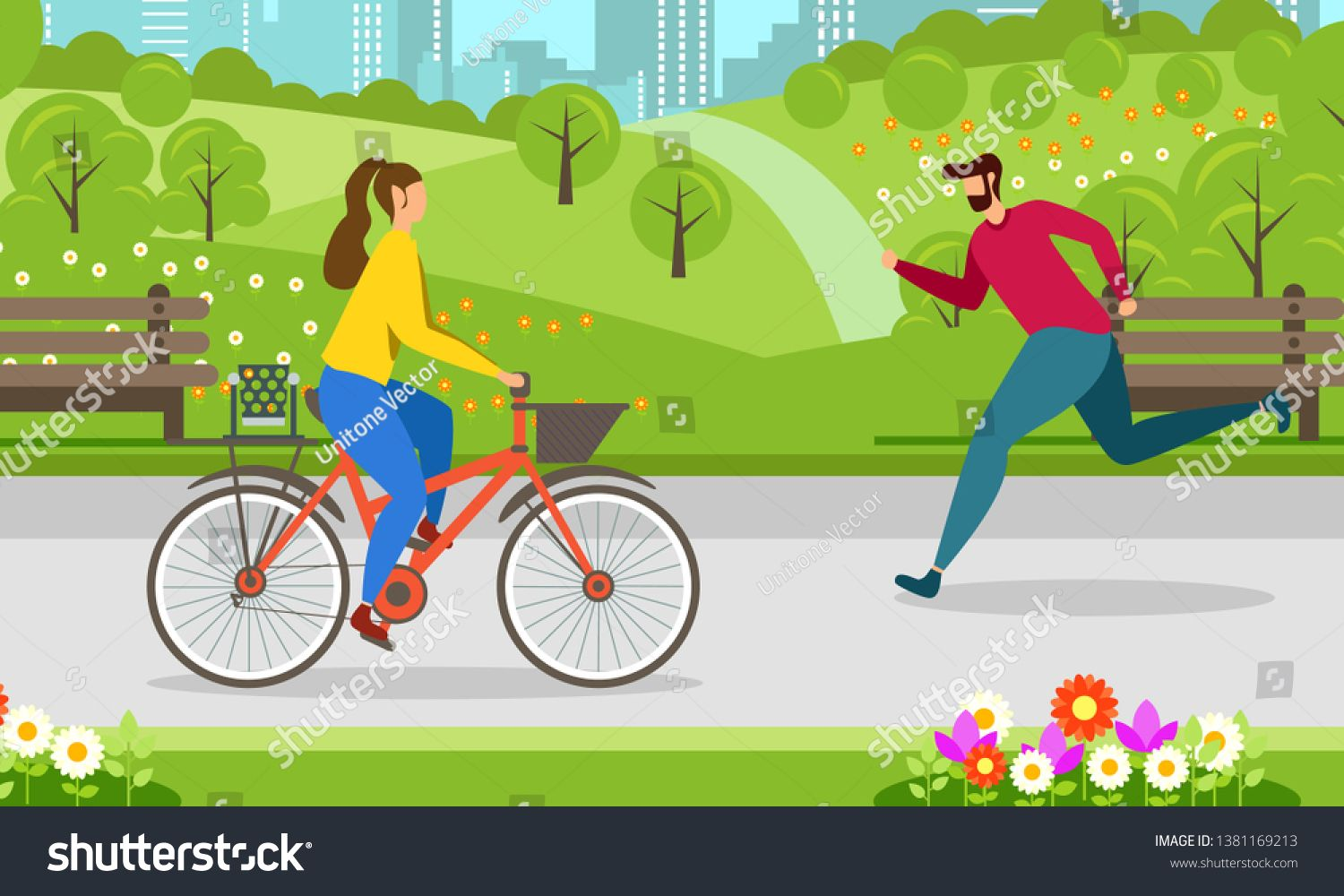 Morning Jogging Cycling In City Park Healthy Lifestyle Motivate