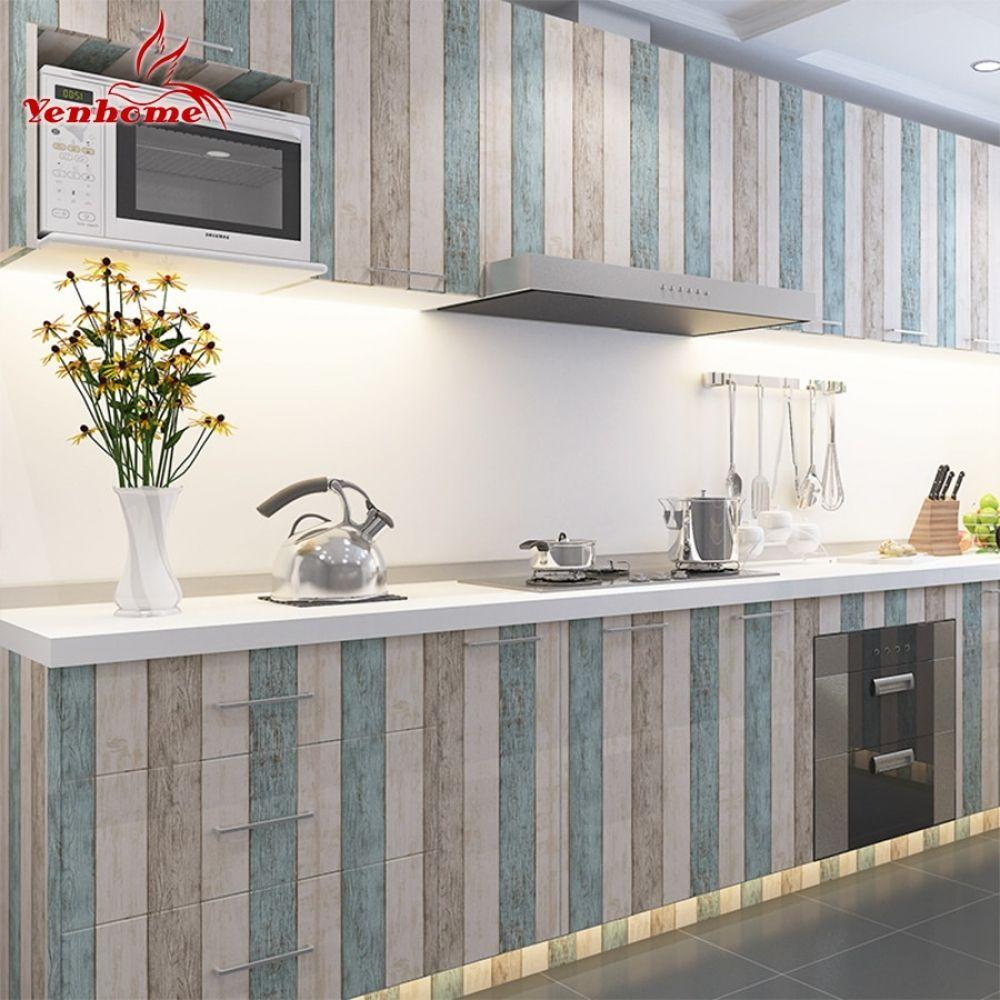 3m 5m 10m Waterproof Vinyl Wall Stickers Self Adhesive Wallpaper Roll Furniture Decorative Film Kitchen Cabinet Wardrobe Sticker Kitchen Cabinets Stickers Kitchen Cabinet Decals Kitchen Furniture