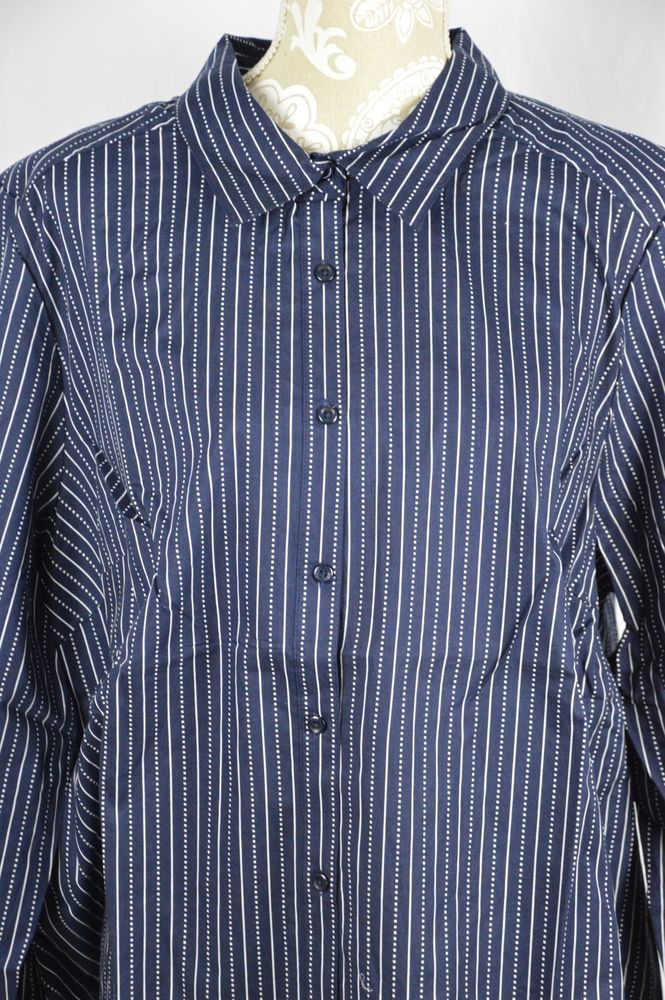 Roaman's Womens 24W Navy Blue White Striped Button Down Long Sleeve Shirt #Roamans #ButtonDownShirt #Casual