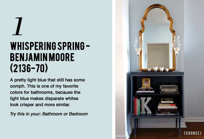7 Paint Colors That Work Almost Anywhere Benjamin Moore Whispering Spring 2136 70 Lightblue Bathroom Bedroom