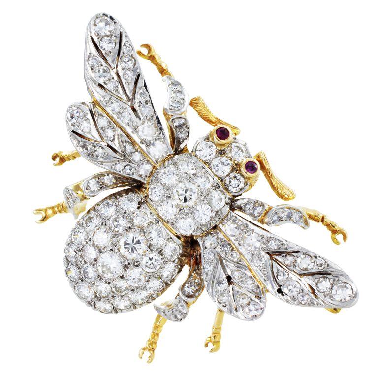 Diamond Bee Gold Ruby Eyes Pin