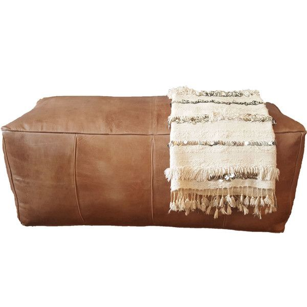 Astounding Long Leather Pouf Ottoman Natural Brown Leather Rectangle Ibusinesslaw Wood Chair Design Ideas Ibusinesslaworg