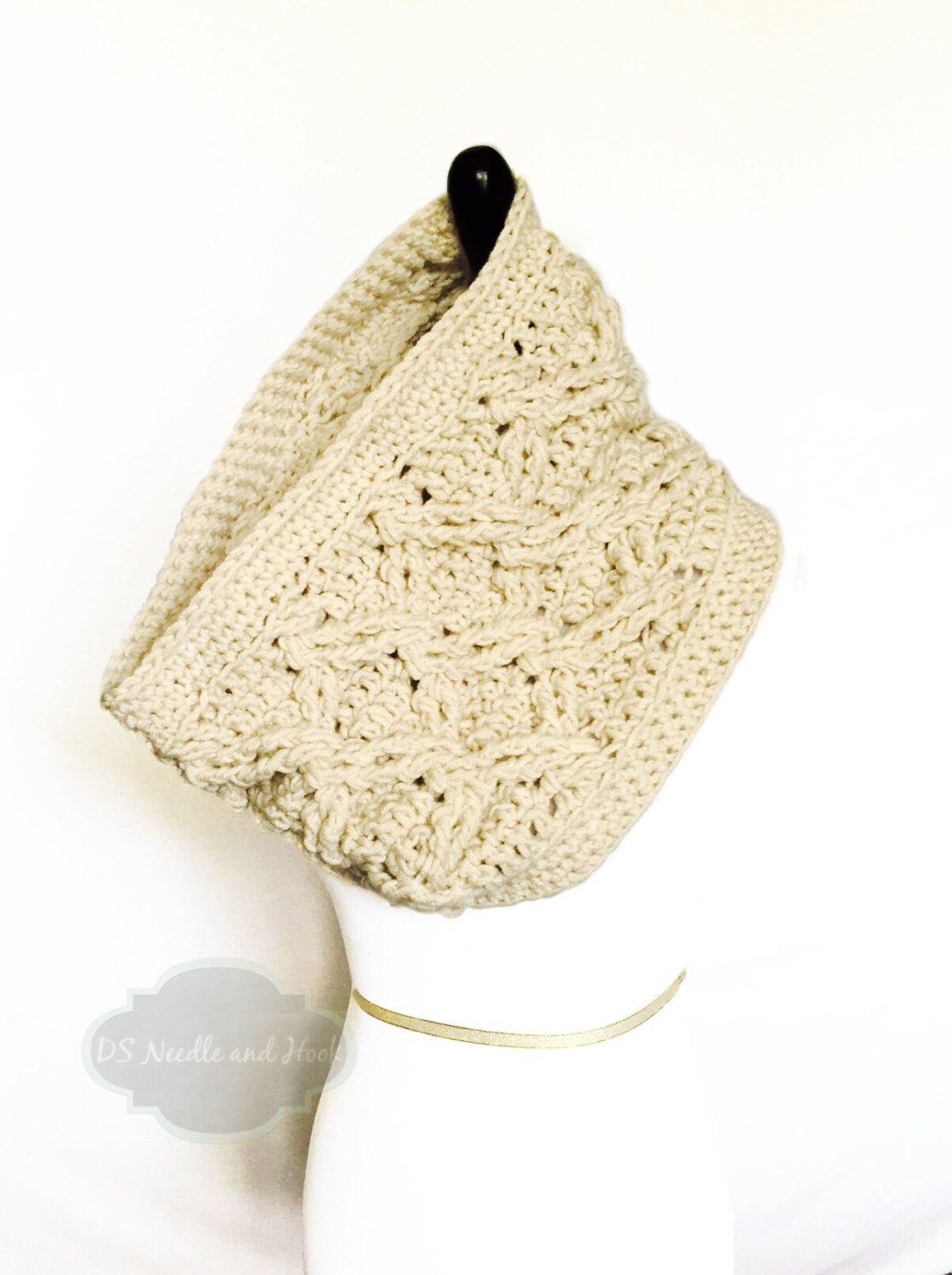 Oatmeal Chunky Crochet Scarf, Beige Crochet Cowl, Cable Scarf, Off ...
