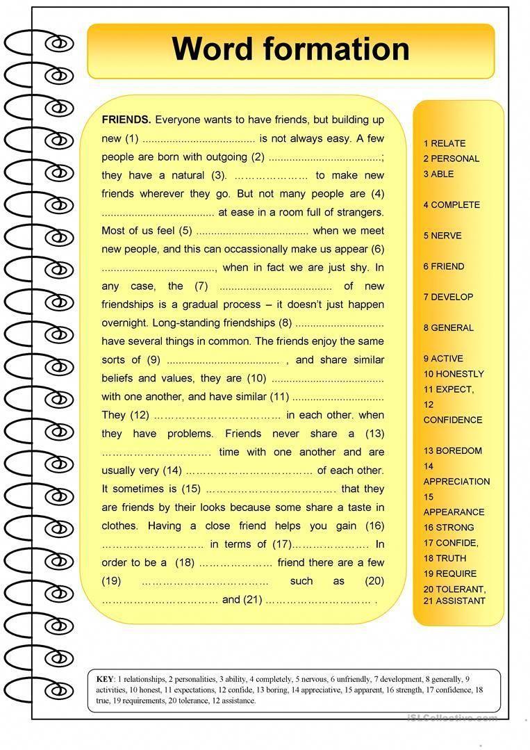 Friends word formation worksheet free esl printable