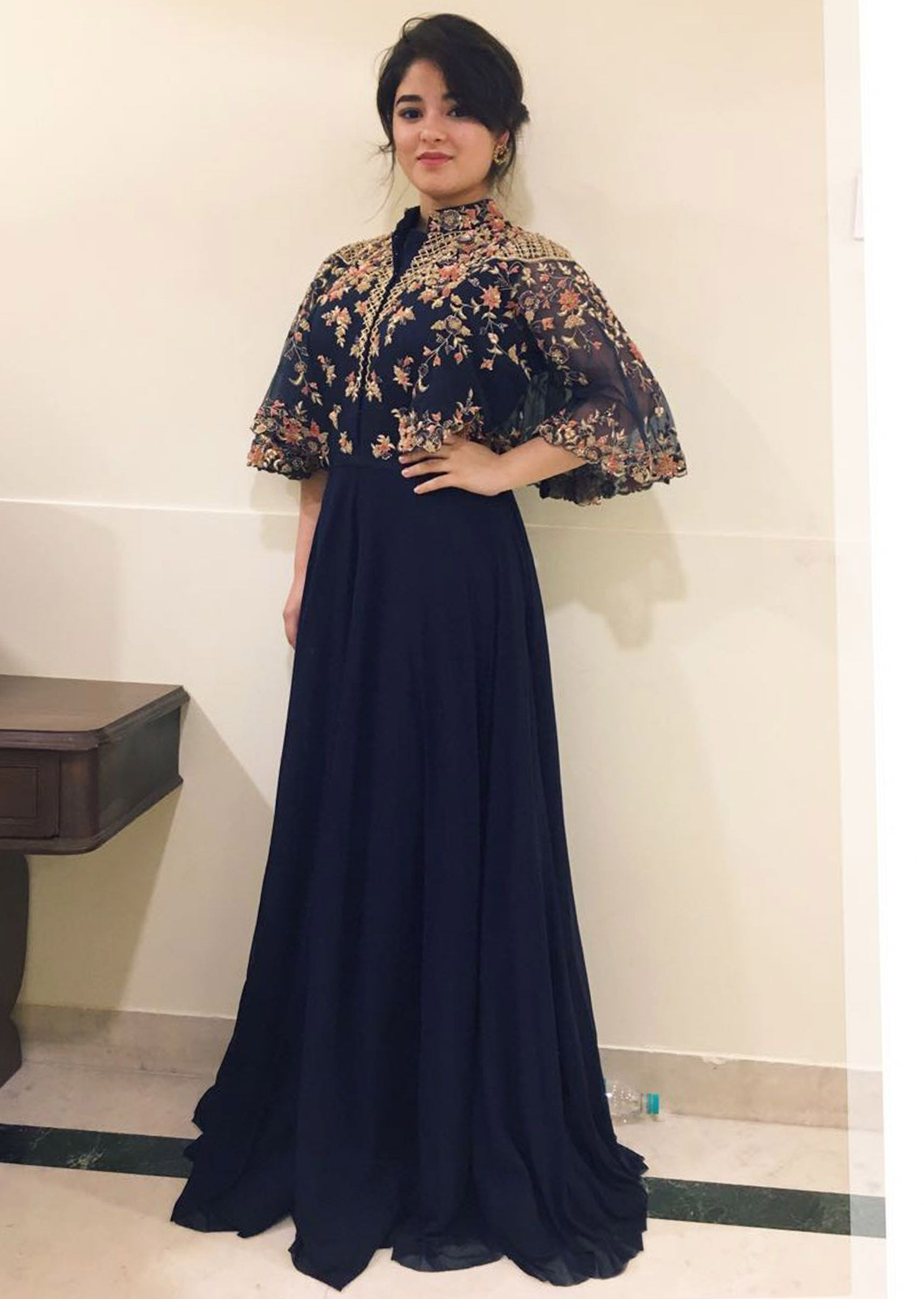 c33043cc1ee Laadesar Zaira Wasim In Kalki Dress In Lycra With Fancy Cape Sleeve Call or  Whatsapp on +91-8290247050 or visit insta page WOMN CLOTHING. we are  designer ...