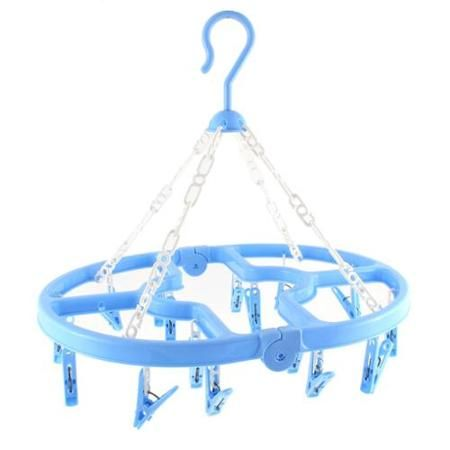 Laundry Storage Hanging Clothes Socks Dryer Hanger 16 Clips Collapsible