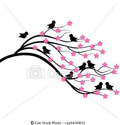 vector tree brunch with birds veggmyndir pinterest brunch rh pinterest com branch clip art free brunch clip art free
