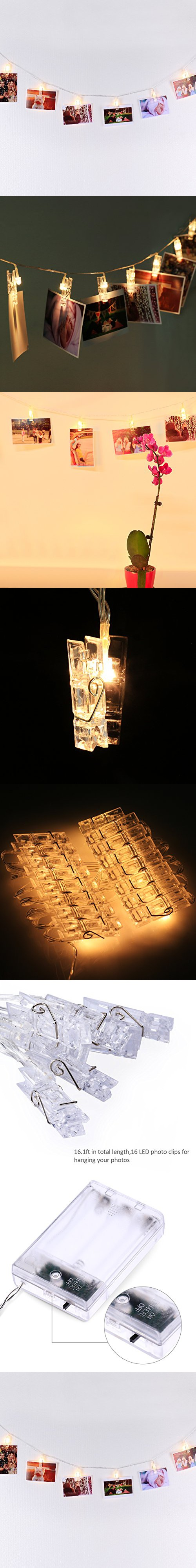 Led photo display string lights with timer automatically - How to hang string lights on wall ...