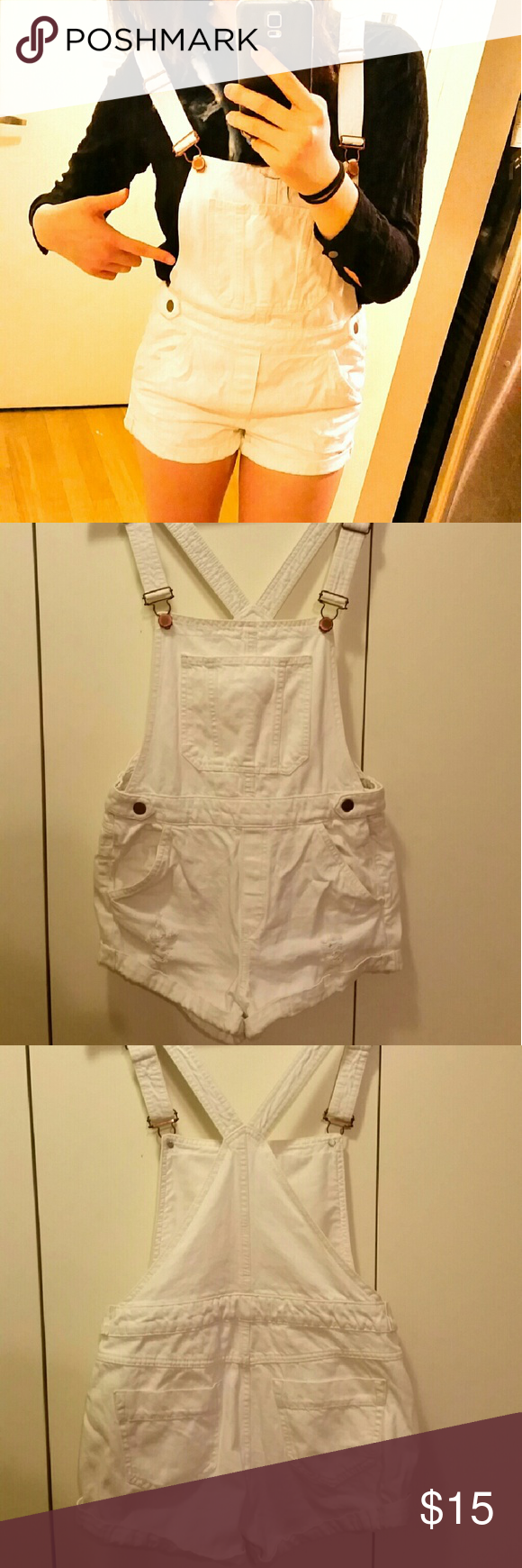 H&M white overall Cute white overall. Worn only once. H&M Pants Jumpsuits & Rompers