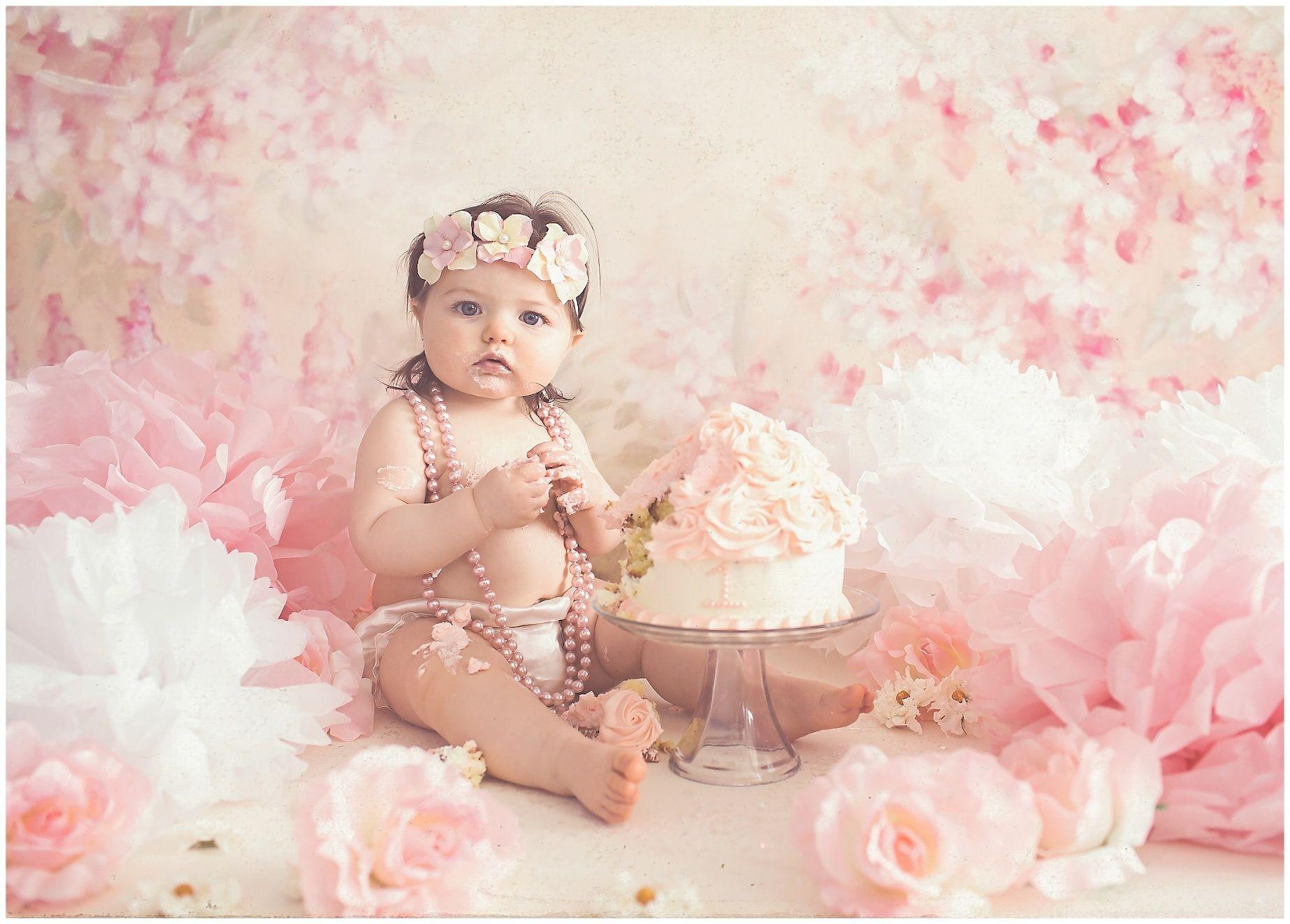 Vintage, girly, rose flower themed cake smash photography