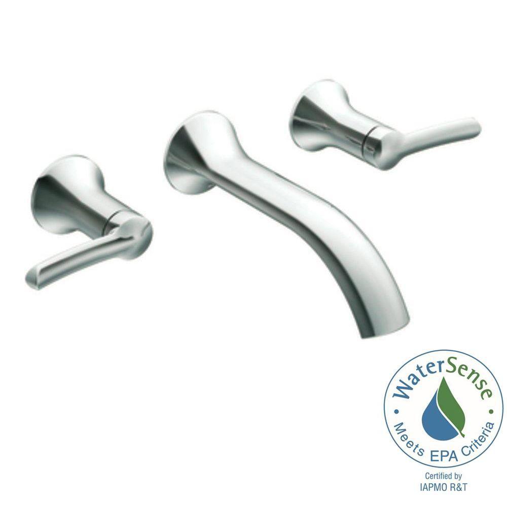 Moen Fina Wall Mount 2 Handle Low Arc Bathroom Faucet Trim Kit In