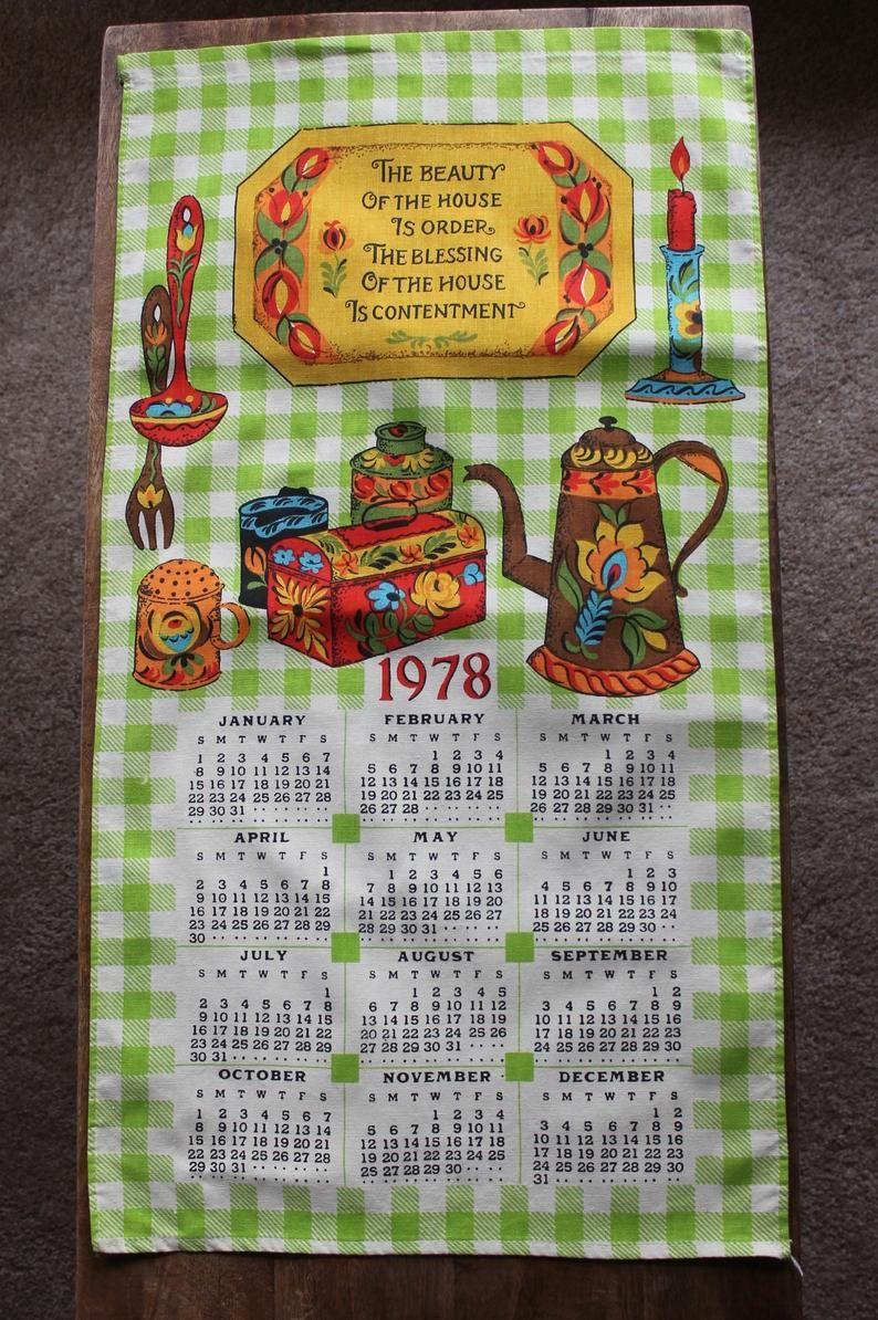 Vintage Cotton Tea Towel 1978 Calendar Green Gingham With Etsy