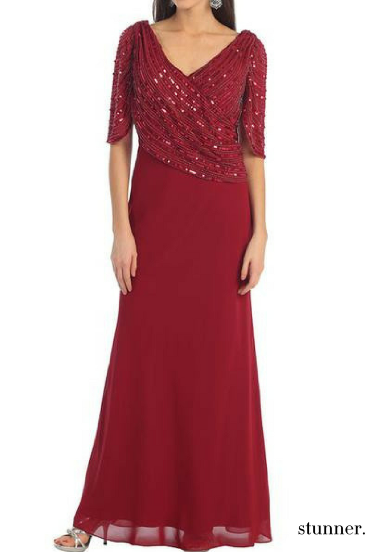 Pair this plus size evening gown with stylish sandals and clutch for