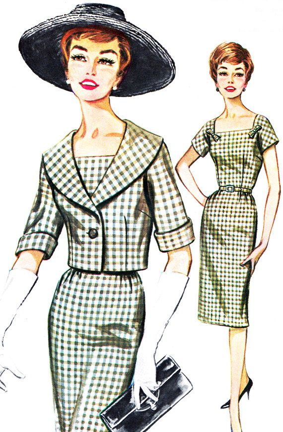 1960s Dress Pattern Butterick 2145 Square Neck Sheath Dress and ...