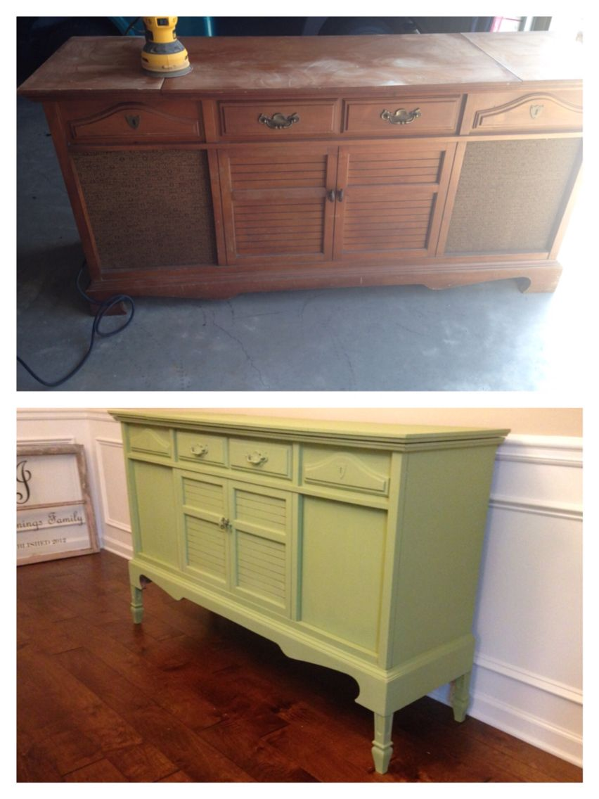 Old stereo cabinet repurposed diy buffet green | Room Ideas ...