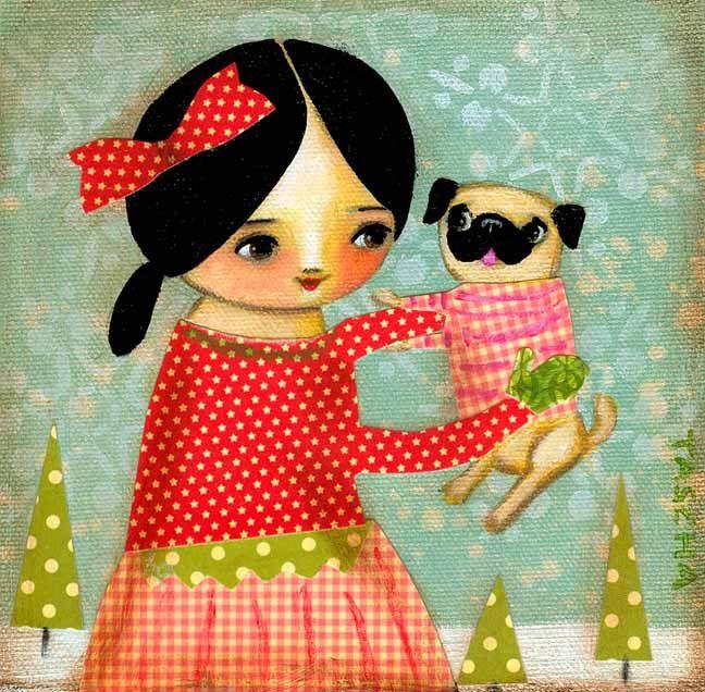 Winter Time Pug Dog - original painting - tascha on etsy