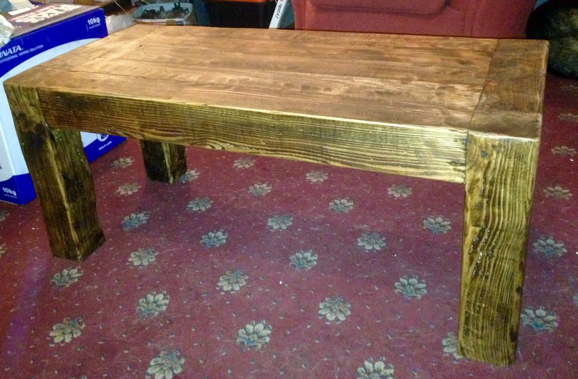 Coffee Table Made From Reclaimed 4x4 Posts And Finished With Tudor