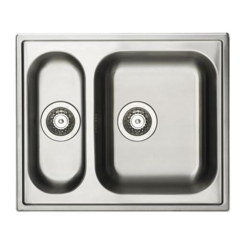 IKEA - BOHOLMEN, Indbygningsvask 1 1/2, 25 års garanti. Læs betingelserne i garantifolderen.</t><t>Vask af rustfrit stål - et hygiejnisk, stærkt og holdbart materiale, der er nemt at gøre rent.</t><t>Kan vendes, så du kan bruge den store vask til venstre eller højre.</t><t>Vasken har ikke forboret hul, så du kan vælge, hvor blandingsbatteriet skal placeres.