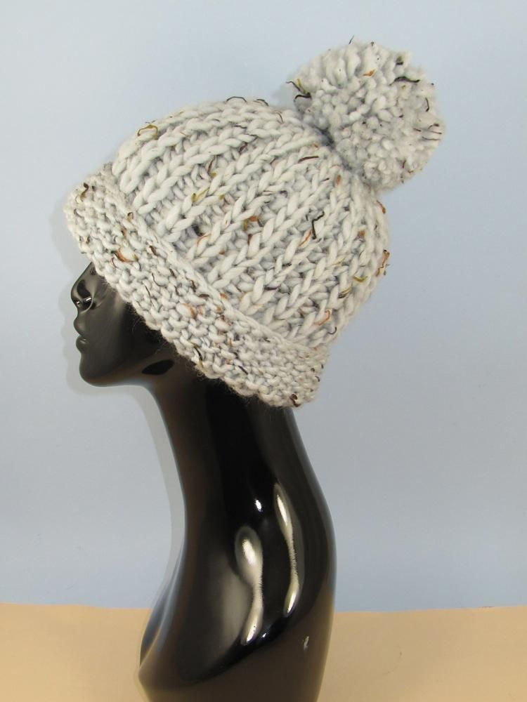 Knitting Chunky Hat : Super chunky moss stitch cuff fishermans rib bobble beanie