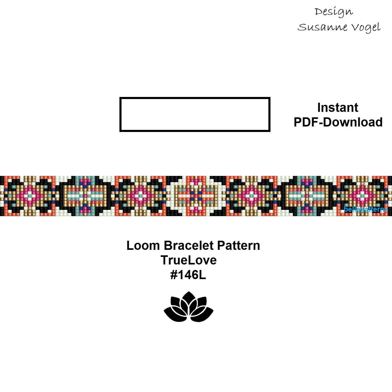 loom bracelet pattern,pdf-download,DIY,#146L,cuff bracelet pattern ...