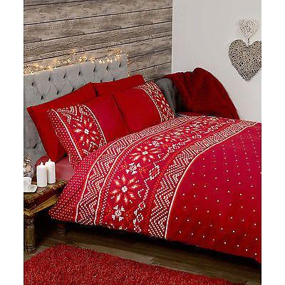 Alpine Snowflake Duvet Quilt Cover - Cream  Red Bedding Set with