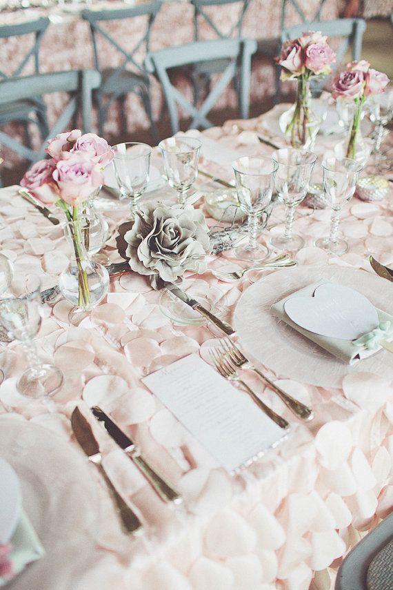 Petal Circle Taffeta 132 Round Tablecloth Blush Rose Gold