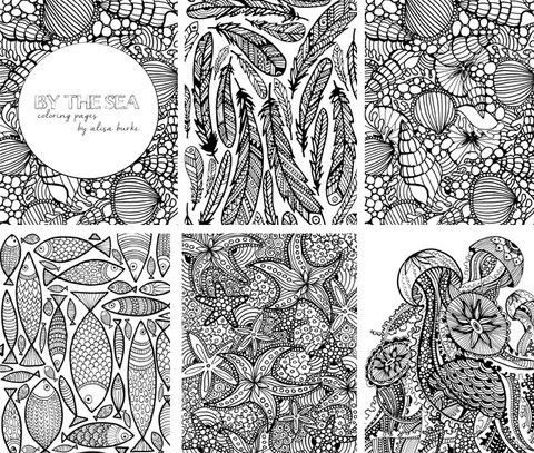 SALE! by the sea 5 coloring pages