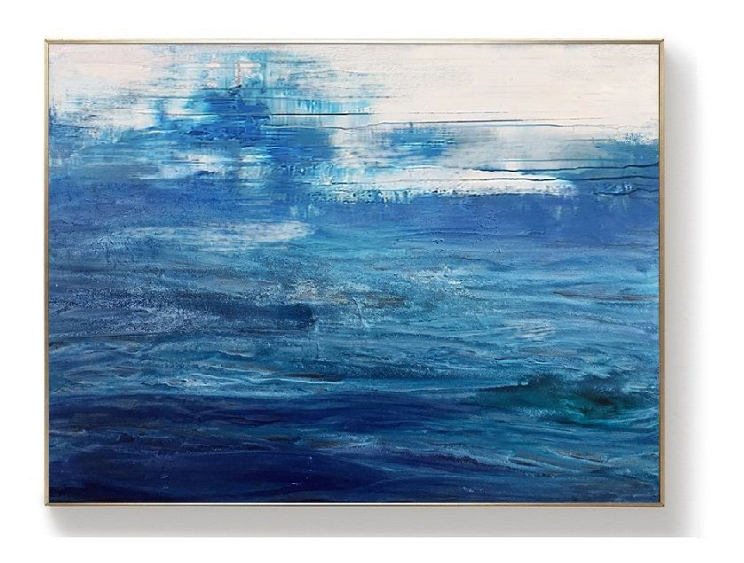 Original Blue Sea Canvas Painting Dark Blue Ocean Painting Blue