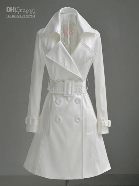 Wholesale New White double breasted coat OL white-collar female ...