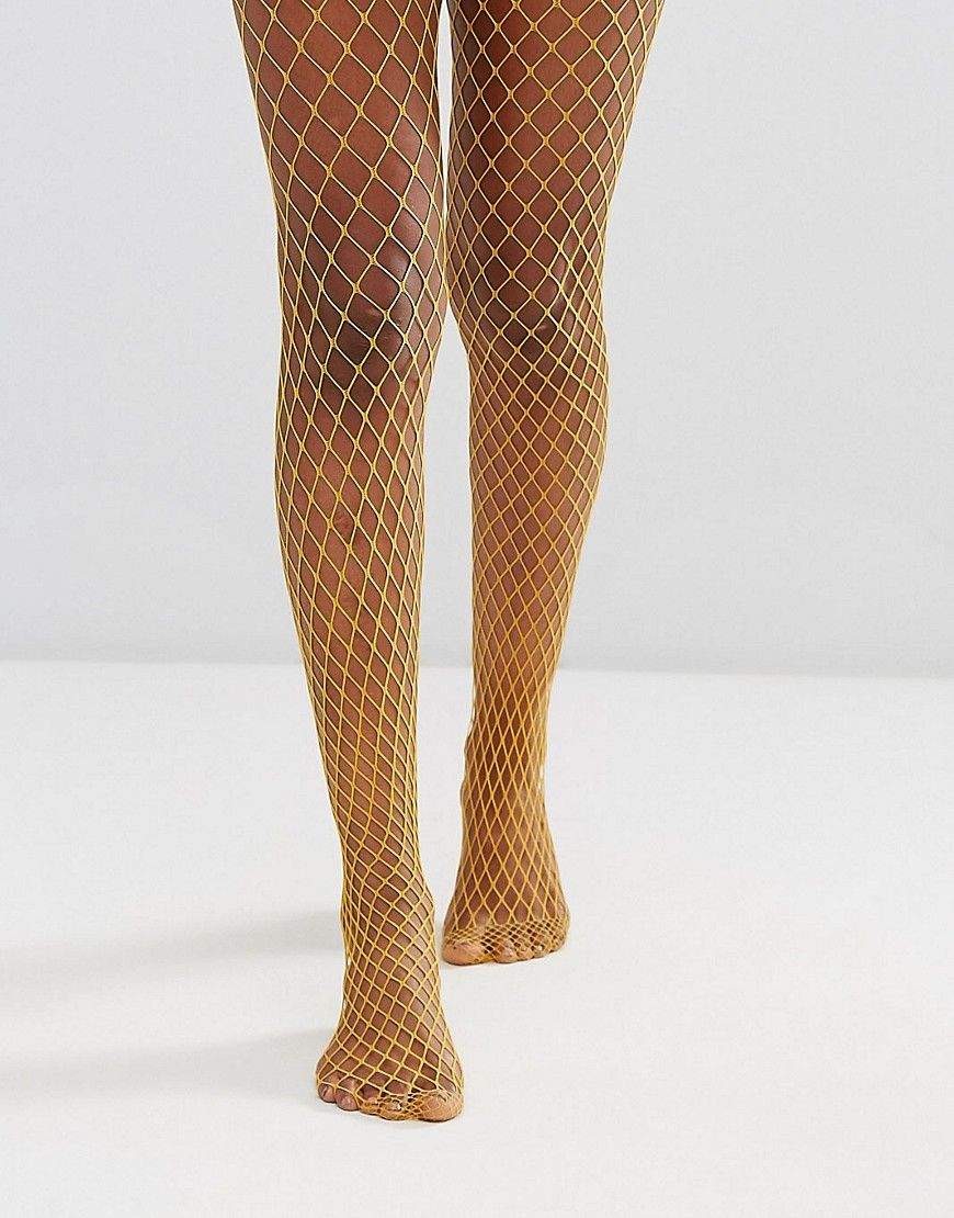 db7c378d756 Gipsy Extra Large Fishnet Tights - Yellow