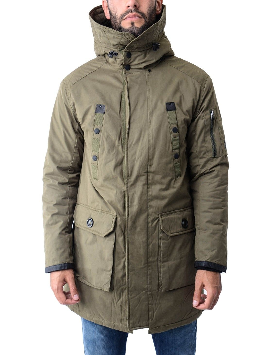 wholesale dealer d51df c40c2 This long length parka from Replay with multi pocket design ...