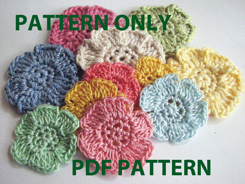 Crochet flower pattern two different small flowers by lmcrochet crochet flower pattern simple flat six petal flower by lmcrochet dt1010fo