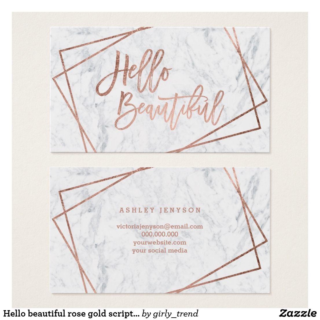 Hello Beautiful Rose Gold Script Geometric Marble Business