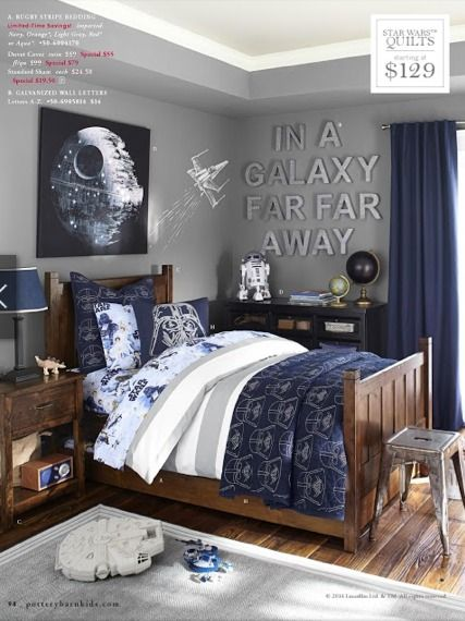 galaxy far far away star wars room shows how it would look with gray walls navy curtains and honey colored furniture as well