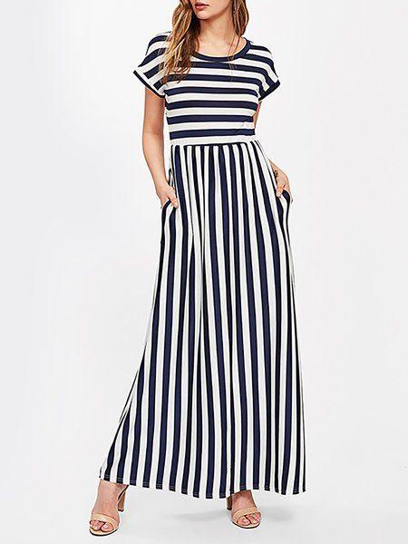 d984a2de899 Buy Elegant Dresses For Women at JustFashionNow. Online Shopping  JustFashionNow Crew Neck Women Elegant Dress A-line Daily Dress Short  Sleeve Modal Paneled ...