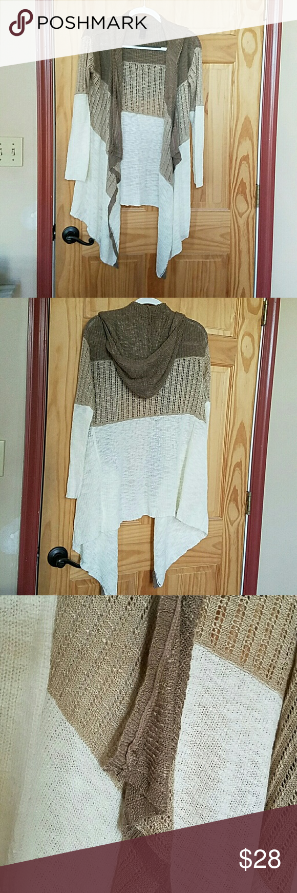 Hooded sweater Beautiful cascading cream beige and light brown ...