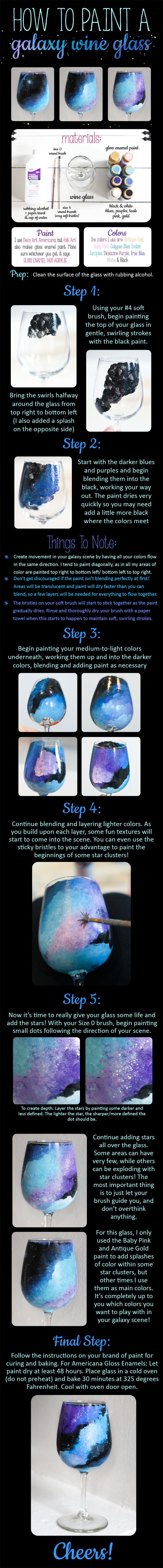 Diy Tutorial How To Paint A Galaxy Scene Wine Gl Purchase The Featured In This Visit Jocelynarielle On Etsy