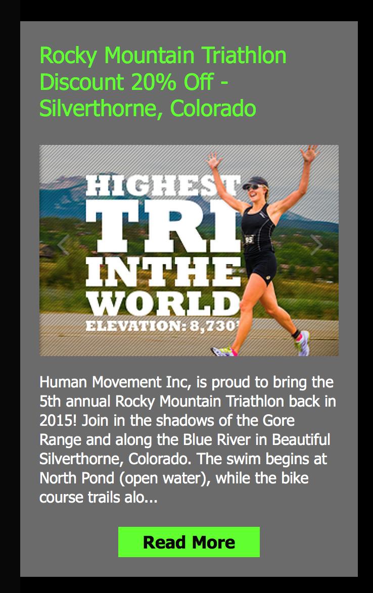 New 20 Discount To The August Rocky Mountain Triathlon Event For Fifty States Half Marathon Club Members The Highest Tria Running Events Triathlon Triathlete