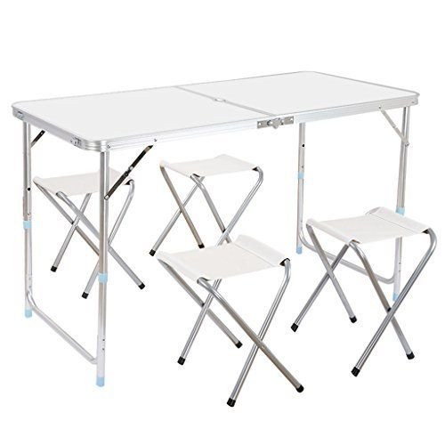 Finether Height Adjustable Folding Table And 4 Folding Stools With Parasol  Hole, Small Portable Aluminum Camping Table Most Popular(Table+Stool)