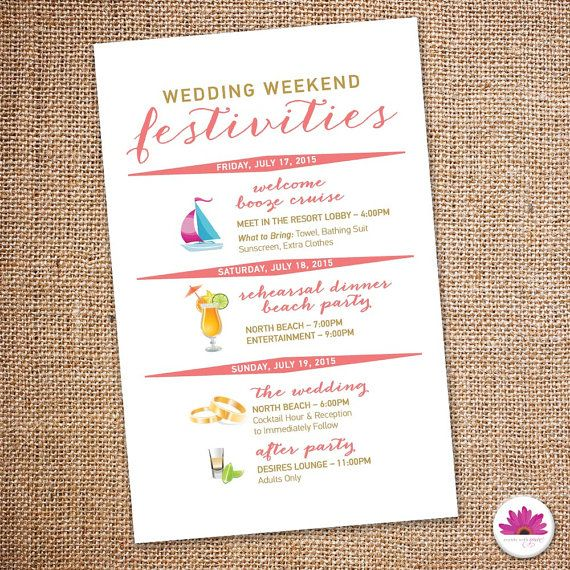 Destination Wedding Weekend Itinerary Digital by EventswithGrace - wedding weekend itinerary template