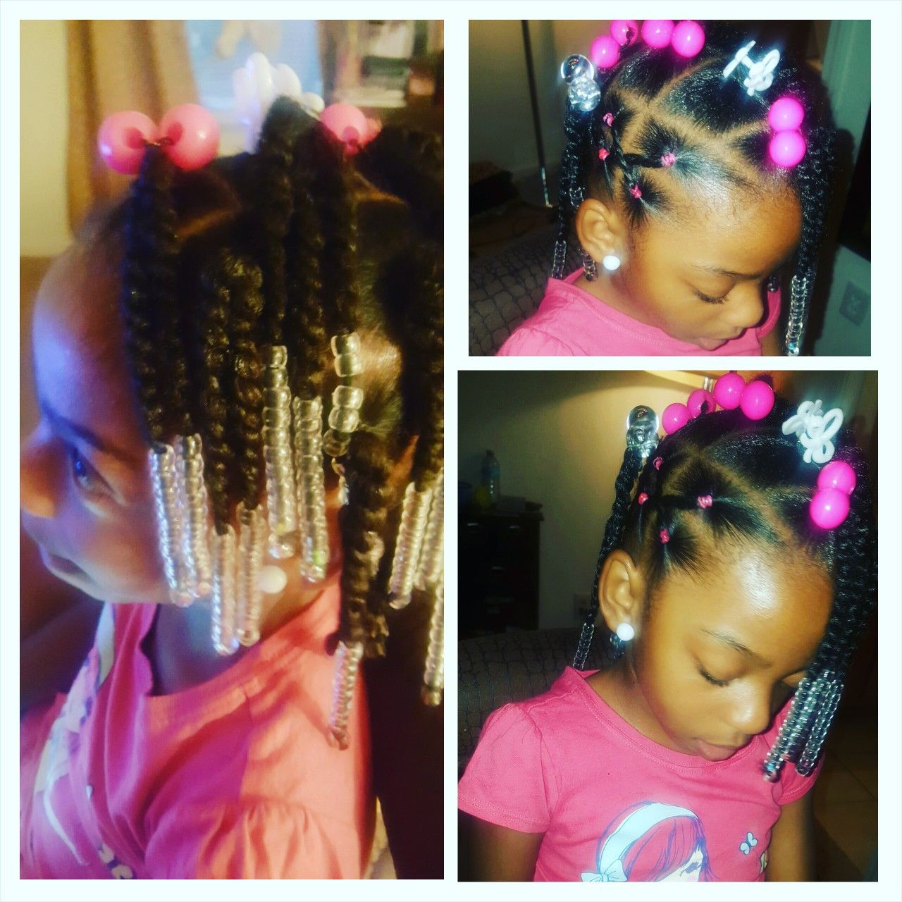 Simple Hair Styles For Little Black Girls Braids Beads And Rubber Bands In Curly Hair Lil Girl Hairstyles Little Girl Ponytails Girls Hairstyles Easy