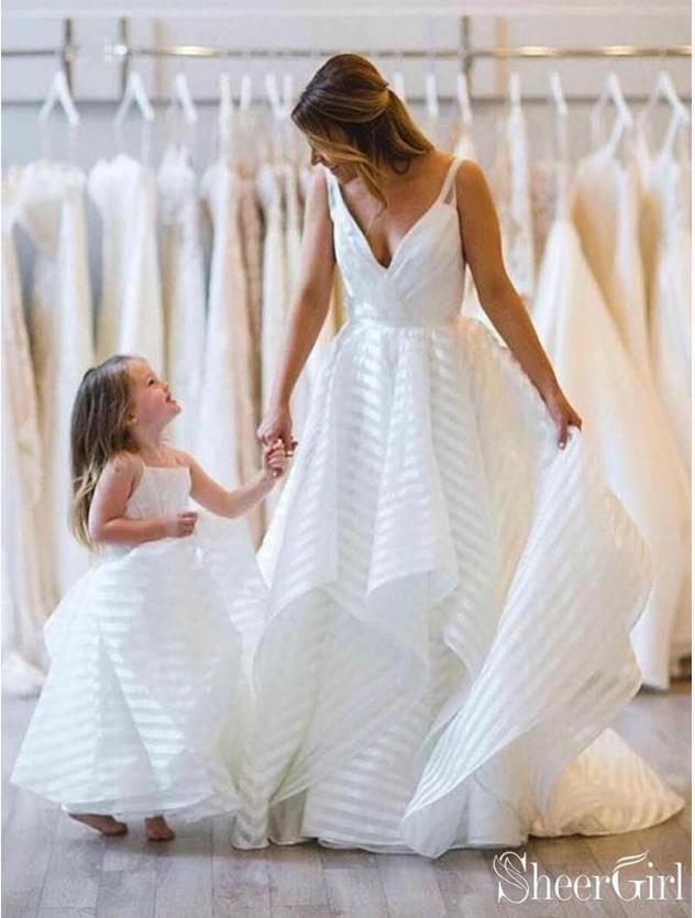 7f670c476cd1 Spaghetti Strap V Neck Ball Gown Wedding Dresses Simple Stripe Printed Bridal  Dress AWD1343 $219.99 https