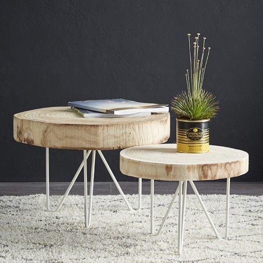 table rondin de bois coffee table