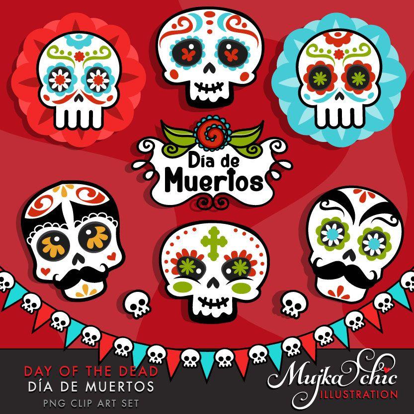 Day Of The Dead Clipart Sugar Skulls Clipart Dia De Muertos Etsy Holiday Graphics Clip Art Halloween Clipart