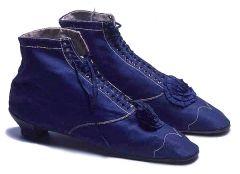 Women's Evening Boots c.1865 Royal blue cotton sateen boots